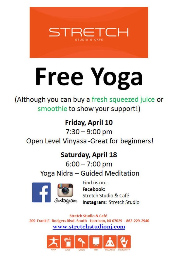 FREE YOGA! Friday, April 10th & Saturday, April 18th
