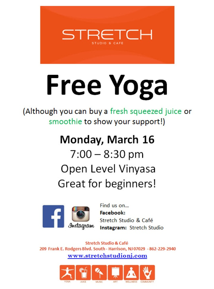 FREE YOGA at Stretch Monday March 16th