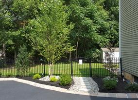 Simple stone path to backyard
