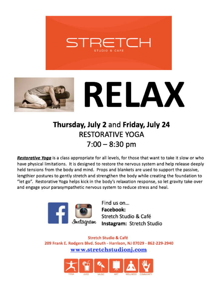 Restorative Yoga July 2nd and July 24th