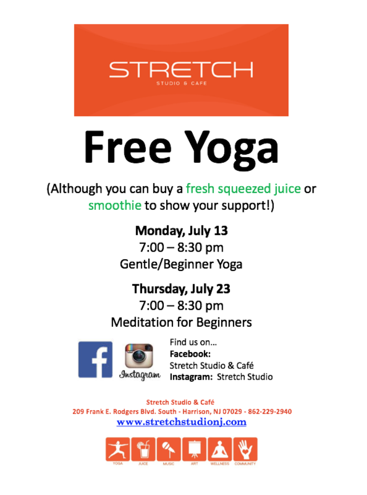 Free Yoga July 13th and 23rd