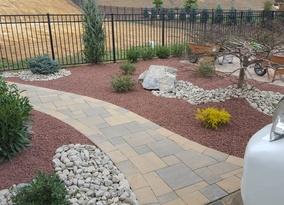 Simple walkway with low maintenance fresh landscape Millstone NJ