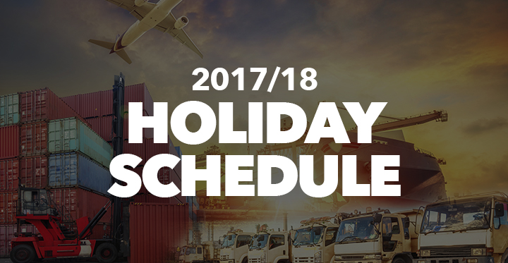 IMPORTANT: CHECK OUT OUR 2017/2018 HOLIDAY SCHEDULE!